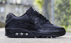 """The Nike WMNS Air Max 90 """"Black Croc"""" is available now at dealers including Titolo."""