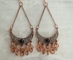 Copper Chandelier Earrings Black Onyx Cabochon by cutterstone, $27.00