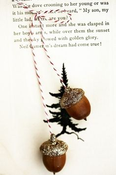 Sparkle Acorns!  3 sets of golden acorns . ornaments. $15.00, via Etsy.