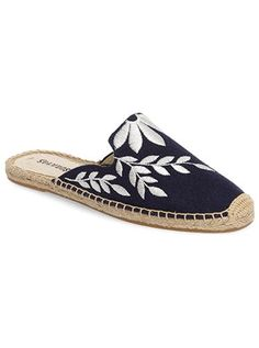 An of-the-moment version of the classic espadrille, this backless style features a loafer-inspired vamp embroidered with floral designs. I may receive commissions from the links in this post. Mules Shoes, Shoes Sandals, Leather Sandals, Wedge Sandals, Kinds Of Shoes, Summer Shoes, Designer Shoes, Me Too Shoes, Shoe Boots