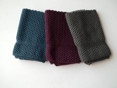 Dish Cloths Knit in Cotton in Anthracite by TheNeedleHouse on Etsy