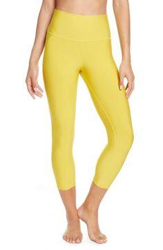 Alo Yoga Airlift High Waist Capris In Sulphur Yoga Fashion, Fashion Women, Scarf Dress, Cowl Neck Top, Striped Bikini, Sweater Coats, Workout Leggings, Plus Size Dresses, Bikini Bottoms