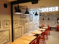 The bright, airy interior of Clive Burger puts a modern twist on the classic American diner. #handdrawn #sketch: