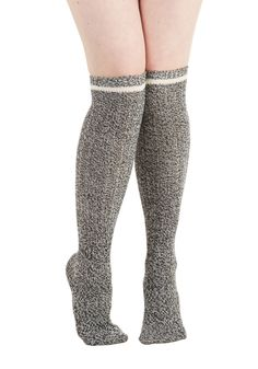 As Good as Knit Gets Socks. When it comes to stylish comfort, these grey over-the-knee socks are first rate! #grey #modcloth