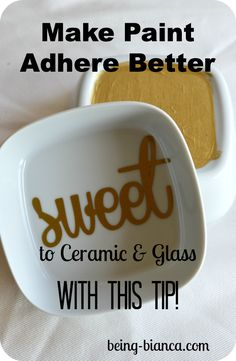 Easy paint trick - make craft paint adhere better and longer on ceramics and glass