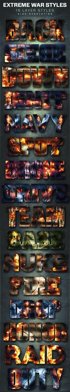 16 Extreme War Layer Styles. Download here: http://graphicriver.net/item/16-extreme-war-layer-styles-volume-3/16723101?ref=ksioks
