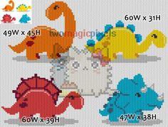 Dinosaurs crochet pattern/graphghan bundle JPG by TwoMagicPixels Dragon Cross Stitch, Cross Stitch Baby, Cross Stitch Charts, Cross Stitch Embroidery, Cross Stitch Patterns, Crochet Dinosaur, Crochet Dragon, Dinosaur Pattern, Knitting Charts