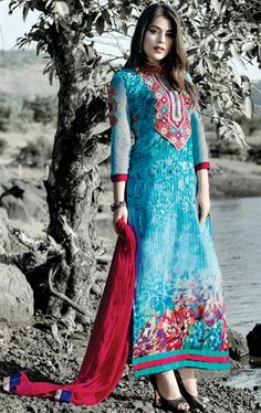 Picture of Admirable Aqua Blue and Red Color Casual Salwar Suit