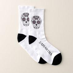 Sugar skull with your name socks - chic design idea diy elegant beautiful stylish modern exclusive trendy