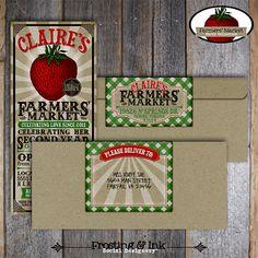 Farmers' Market Party Invitation & Wrap Around Address Labels