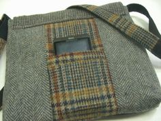 Recycled purse mustard navy plaid wool mens suit by SewMuchStyle, $55.00