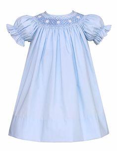 Petit Bebe Infant / Toddler Girls Blue Poplin Smocked Dress - Bishop