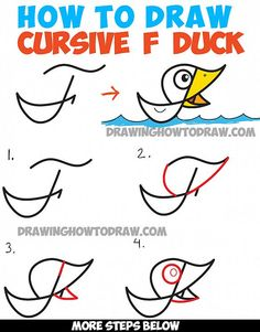 How to Draw Cartoon Duck on Water from Cursive Letter F - Drawing Tutorial for Kids