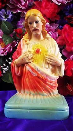 Antique Sacred Heart Of Jesus Chalkware Carnival Prize Religious Statue