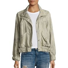 Free People Parachute Cropped Army Jacket ($59) ❤ liked on Polyvore featuring outerwear, jackets, green, green cropped jacket, puffer jacket, army jackets, standing collar jacket and cropped jacket