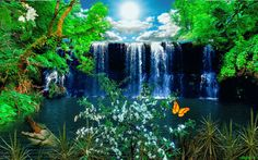 Animated Gif by Perfect World, What A Wonderful World, Gif Animé, Animated Gif, Gif Photo, Les Cascades, Nature Gif, Beautiful Waterfalls, Heaven On Earth