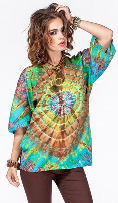 http://indiastyle.ru/products/tunika-novaya-zvezda Туника тай-дай, окраска узелковый батик, шибори. Стиль хиппи, бохо стиль. Hippie style, tunic, tie-dye.  1920 рублей