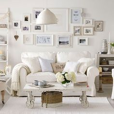 Soft white living room | Living room decorating | Ideal Home | Housetohome.co.uk Love the coffee table!