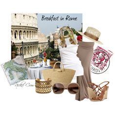 """I created a stylish casual outfit that is perfect for strolling the streets of Rome.  """"Breakfast in Rome"""" by nickiecrow on Polyvore"""