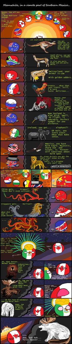Spirit Animals ( Australia, South Africa, Switzerland, France, Russia, New Zealand, Ireland, USA, UK, Mexico, China, Singapore, North Korea, Canada ) by Black Mirror  #polandball #countryball