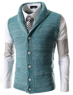 TheLees Men's Slim Fit Shawl 5 Button Knitted Vest Sweater