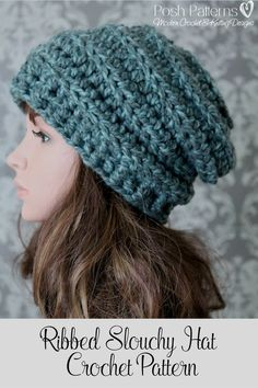 Crochet Pattern - Crochet this super comfy and cozy slouchy hat! It has a fun horizontal ribbed texture and is incredibly easy to crochet. Perfect for anyone including babies, kids, boys, girls, women, and men. By Posh Pattern.
