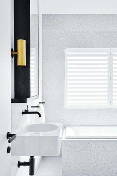 Black and gold accents in this Flack Studio designed bathroom Bathroom Trends, Bathroom Renovations, Bathroom Interior, Bathroom Ideas, Bathroom Inspo, Bathroom Designs, Bad Inspiration, Bathroom Inspiration, Bath