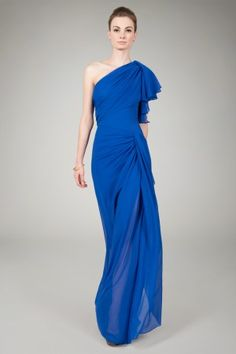 Asymmetric Draped Gown in Blueberry - Evening Gowns - Shop | Tadashi Shoji
