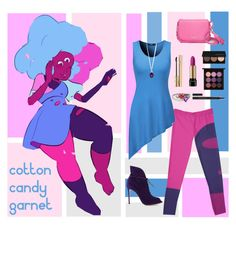 """Steven Universe: Cotton Candy Garnet"" by vwillbanks ❤ liked on Polyvore featuring Gianvito Rossi, Kate Spade, French Connection, Belk & Co., Lancôme, Dolce&Gabbana, Smashbox, MAC Cosmetics, Kevyn Aucoin and women's clothing"