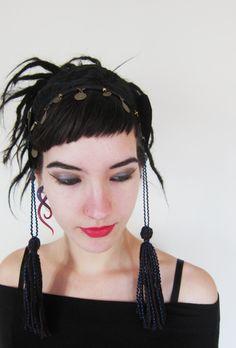 gothic tribal bellydance | Tribal fusion bellydance gothic baroque fantasy coin tassel headband ...