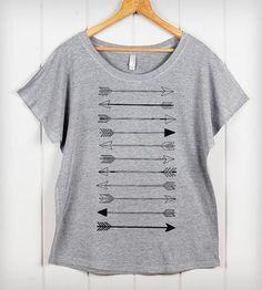 Arrow Dolman Tee - Heather Gray | Women's loose fitting dolman top with flattering open scoop neck.