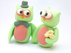 Bride and Groom Owl Wedding Cake Topper | mint green and blush - would make an adorable addition to any rustic wedding
