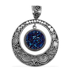 Liquidation Channel - Affordable Royal Bali Collection Titanium Blue Drusy Quartz (Rnd) Pendant without Chain in Sterling Silver Nickel Free TGW 6.39 cts.