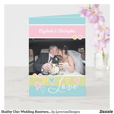 Shabby Chic Wedding Anniversary photo Card Happy Anniversary 1 Year, Wedding Anniversary Greeting Cards, Wedding Anniversary Photos, Anniversary Gifts For Couples, Wedding Cards, Anniversary Ideas, Homemade Anniversary Gifts, Homemade Wedding Gifts, Birthday Gifts For Sister