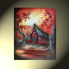 Original Fantasy Landscape Artwork House With Heart Trees 16x20 Red Orange Yellow. $75.00, via Etsy.... OMG I LOVE this painting! This is definite inspiration!