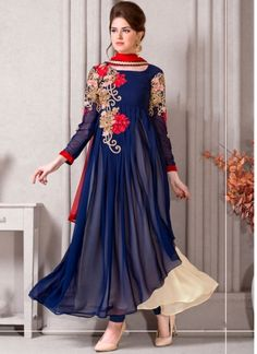 Navy Blue Embroidery Thread Work Stone Work Georgette Casual Anarkali Suit http://www.angelnx.com/Salwar-Kameez/Anarkali-Suits