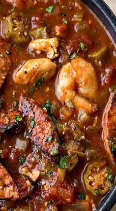 """""""Gumbo-laya"""" With Spicy Sausage, Chicken & Shrimp"""