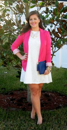 Valentine's Day Threads: Pink or Red? Pink blazer, white lace dress, pearls