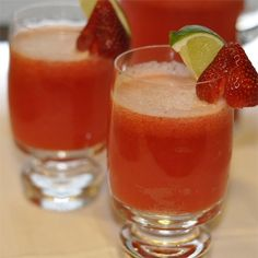 """Strawberry Beer Margaritas I """"Fruity and sweet, these go down way too easily, and they were a hit for my office's happy hour."""""""