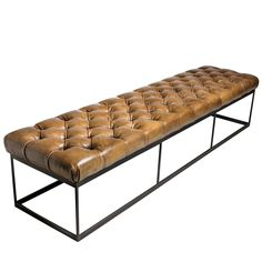 Tufted Leather Bench | From a unique collection of antique and modern benches at https://www.1stdibs.com/furniture/seating/benches/