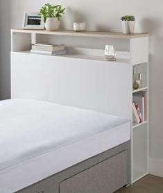 Diy Bed Headboard, Headboard With Shelves, Bed Shelves, White Headboard, Bed Frame With Storage, Headboard Designs, Headboards For Beds, Bed Storage, Double Headboard
