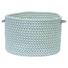 """Indoor/outdoor braided utility basket. Made in the USA.   Product: BasketConstruction Material: PolypropyleneColor: Light blue and whiteFeatures:  Stain and fade resistantMade in the USA Dimensions: Small: 10"""" H x 14"""" DiameterLarge: 12"""" H x 18"""" Diameter"""