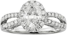 Oval-Cut IGL Certified Diamond Halo Engagement Ring in 14k White Gold (1 1/2 ct. T.W.) #bride #wedding #jewelry #bridaljewelryideas