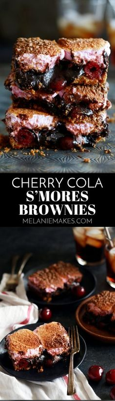 These Cherry Cola S'mores Brownies are the perfect dessert mashup. A buttery, graham cracker base is topped with a cherry cola spiked brownie batter, dark chocolate candy bars and maraschino cherries before being topped with a pillowy layer of cherry flavored marshmallows. They're pretty much heaven in brownie form!  AD