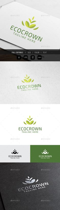 Eco Crown Leaf - Logo Design Template Vector #logotype Download it here: http://graphicriver.net/item/eco-crown-leaf-logo/10345570?s_rank=1260?ref=nesto