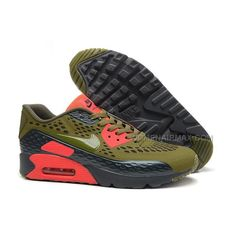 2015 Latest Air Max 90 Ultra Womens Army Green Black Red Carved Three Dimensional Breathable Couples Shoes Online