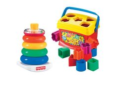 This fun bundle includes Baby's First Blocks and Rock-a-stack classic toys. Baby's First Blocks comes with 5 shapes to sort with a total of 10 colo...