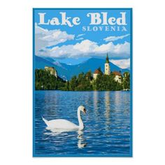 Vintage Lake Bled Slovenia Travel Poster - retro posters classy cool vintage