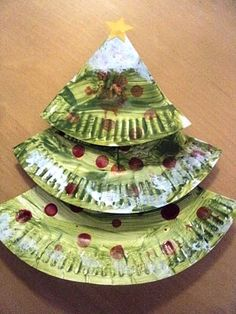 Paper plate Chritmas tree.  Cut one plate into 3 triangles, each different sized.  Then paint and decorate!    the kids will have fun with this