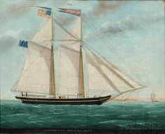 William Hare (Maryland/England, 1815-1865) Portrait of the Schooner NARRAGANSETT of Fall River/L. Hall Master. | Sale Number 2680B, Lot Numb...